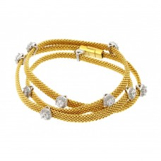 **Closeout** Wholesale Sterling Silver 925 Gold Plated Clear CZ Double Wrap Beaded Italian Bracelet - PSB00009GP