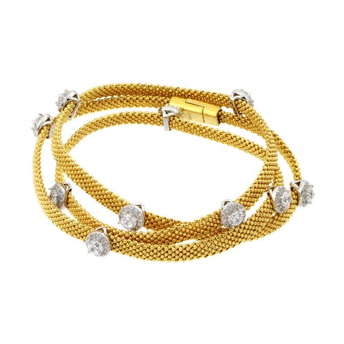 -Closeout- Wholesale Sterling Silver 925 Gold Plated Clear CZ Double Wrap Beaded Italian Bracelet - PSB00009GP