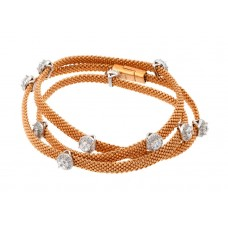 **Closeout** Wholesale Sterling Silver 925 Rose Gold Plated Clear CZ Double Wrap Beaded Italian Bracelet - PSB00009RGP