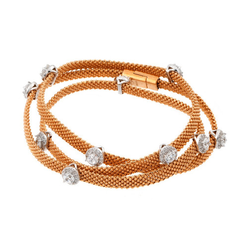 -Closeout- Wholesale Sterling Silver 925 Rose Gold Plated Clear CZ Double Wrap Beaded Italian Bracelet - PSB00009RGP