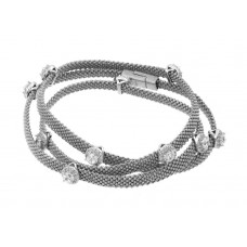 **Closeout** Wholesale Sterling Silver 925 Rhodium Plated Clear CZ Double Wrap Beaded Italian Bracelet - PSB00009RH