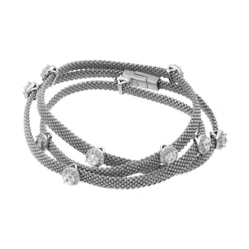 -Closeout- Wholesale Sterling Silver 925 Rhodium Plated Clear CZ Double Wrap Beaded Italian Bracelet - PSB00009RH