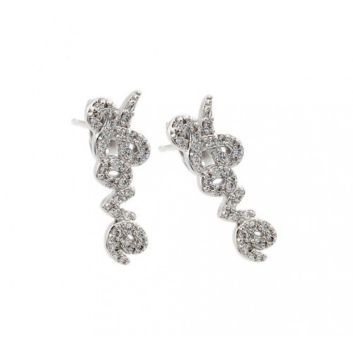 Wholesale Sterling Silver 925 Rhodium Plated Love CZ Inlay Stud Earrings - BGE00407