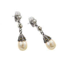 Sterling Silver Black Rhodium Plated Two Round CZ Hanging Fresh Water Pearl Stud Earring - BGE00409