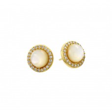Wholesale Sterling Silver 925 Gold Plated Round CZ Outline Center Pearl Stud Earrings - BGE00410GP