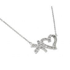 Wholesale Sterling Silver 925 Rhodium Plated Clear CZ XO Heart Pendant Necklace - BGP00928