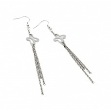 Stainless Steel Butterfly Hanging Strands Hook Earring