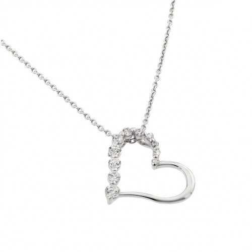 Wholesale Sterling Silver 925 Rhodium Plated Clear CZ Heart Pendant Necklace - STP01413