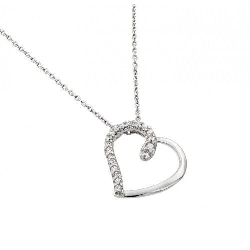 Wholesale Sterling Silver 925 Rhodium Plated Clear CZ Heart Pendant Necklace - STP01414