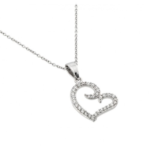 Wholesale Sterling Silver 925 Rhodium Plated Clear CZ Heart Pendant Necklace - STP01415