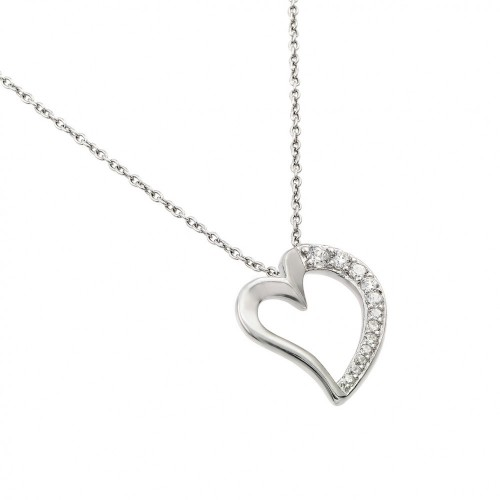 Wholesale Sterling Silver 925 Rhodium Plated Clear CZ Squished Heart Pendant Necklace - STP01431