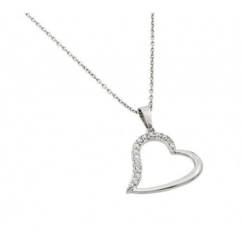 Wholesale Sterling Silver 925 Rhodium Plated Clear CZ Slanted Heart Pendant Necklace - STP01433