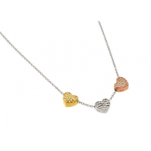 Wholesale Sterling Silver 925 Rhodium Plated Clear CZ Heart Pendant Necklace - STP01435