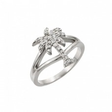 Wholesale Sterling Silver 925 Rhodium Plated Pave Set Clear CZ Palm Tree Ring - STR00999