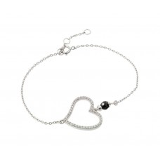 Wholesale Sterling Silver 925 Rhodium Plated Open Heart Outline Clear Black CZ Bracelet - BGB00204
