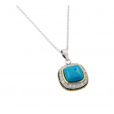Wholesale Sterling Silver 925 Rhodium Gold and Black Rhodium Plated Clear CZ Square Blue Stone Pendant Necklace - BGP00934