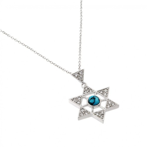 Wholesale Sterling Silver 925 Rhodium Plated Clear CZ David Star Pendant Necklace - BGP00964