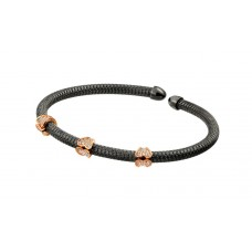 Wholesale Sterling Silver 925 Black Rhodium and Rose Gold Plated Micro Pave Clear CZ Bracelet - ECB00023BR