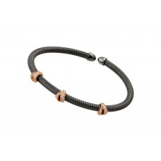 Wholesale Sterling Silver 925 Black Rhodium and Rose Gold Plated Three Clear CZ Bracelet - ECB00024BR