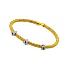 Wholesale Sterling Silver 925 Gold and Rhodium Plated Three Clear CZ Bracelet - ECB00024YW