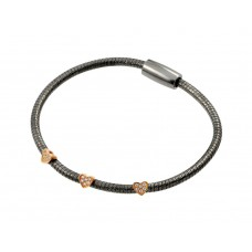 Wholesale Sterling Silver 925 Black Rhodium and Rose Gold Plated Three Clear CZ Bracelet - ECB00025BR