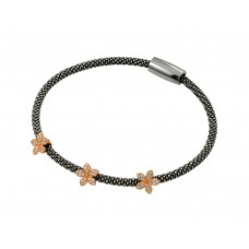 Sterling Silver Black Rhodium & Rose Gold Plated Three Flower Clear CZ Inlay Bracelet ECB00026BR
