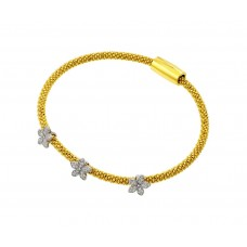 Wholesale Sterling Silver 925 Rhodium and Gold Plated Three Flower Clear CZ Inlay Bracelet - ECB00026YW