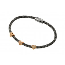 Wholesale Sterling Silver 925 Black Rhodium and Rose Gold Plated Three Heart Clear CZ Inlay Bracelet - ECB00027BR