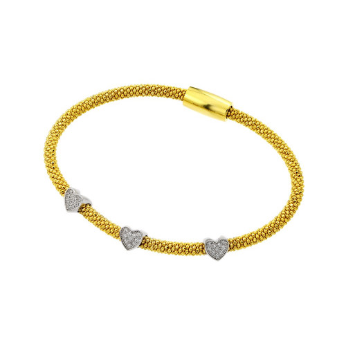 Wholesale Sterling Silver 925 Black Rhodium and Gold Plated Three Heart Clear CZ Inlay Bracelet - ECB00027YW