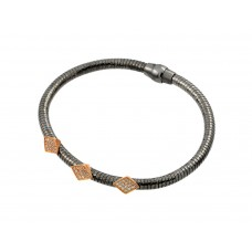 Sterling Silver Black Rhodium & Rose Gold Plated Three Marqui Clear CZ Inlay Bracelet ECB00028BR