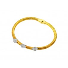 Wholesale Sterling Silver 925 Rhodium and Gold Plated Three Marquis Clear CZ Inlay Bracelet - ECB00028YW