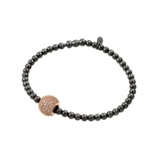 Sterling Silver Black Rhodium & Rose Gold Plated Ball Multiple Clear CZ Inlay Bracelet ECB00033BR