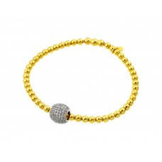 Wholesale Sterling Silver 925 Rhodium and Gold Plated Ball Micro Pave Clear CZ Inlay Bracelet - ECB00033YW