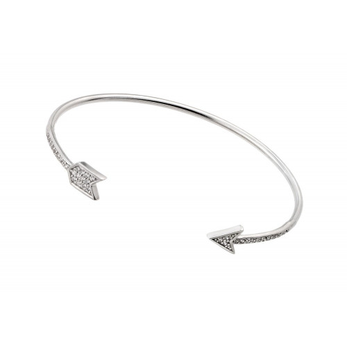 Wholesale Sterling Silver 925 Rhodium Plated Arrow Clear CZ Bracelet - STB00510