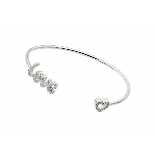 Wholesale Sterling Silver 925 Rhodium Plated Love and Heart Clear CZ Bracelet - STB00511