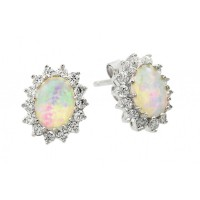 Wholesale Sterling Silver 925 Rhodium Plated Opal Sun CZ Stud Earrings - STE00941