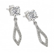 Wholesale Sterling Silver 925 Rhodium Plated Square and Round Open Marquis Clear CZ Dangling Stud Earrings - STE00958