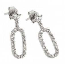 Wholesale Sterling Silver 925 Rhodium Plated Round Oval Clear CZ Dangling Stud Earrings - STE00959