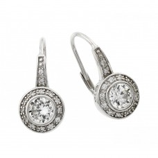 Wholesale Sterling Silver 925 Rhodium Plated Round Clear CZ Hoop Earrings - STE00962