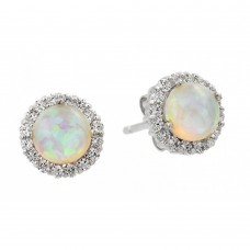 Wholesale Sterling Silver 925 Rhodium Plated Round Opal CZ Stud Earrings - STE00963