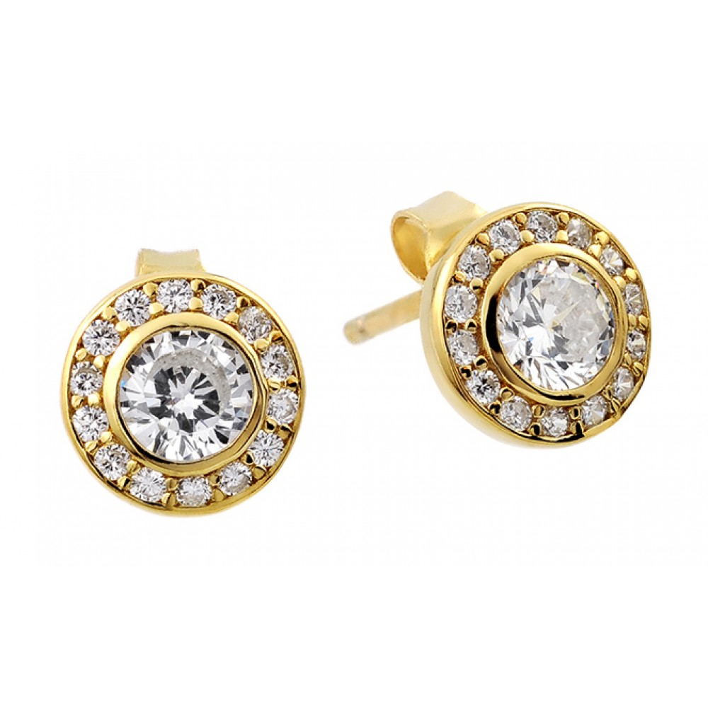 Wholesale Sterling Silver 925 Gold and Rhodium Plated Round Clear CZ Stud Earrings - STE00965GP