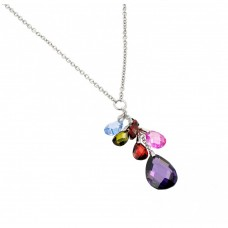 Sterling Silver Rhodium Plated Clear CZ Multi-Color Pear Shapes Pendant Necklace - BGP00950