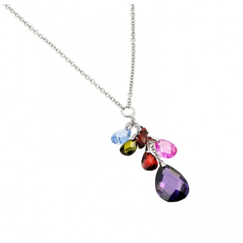 Wholesale Sterling Silver 925 Rhodium Plated Clear CZ Multi-Color Pear Shapes Pendant Necklace - BGP00950