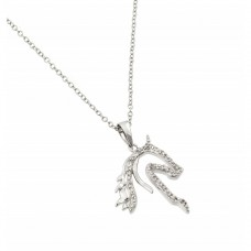 Sterling Silver Rhodium Plated Clear CZ Horse Pendant Necklace - BGP00963
