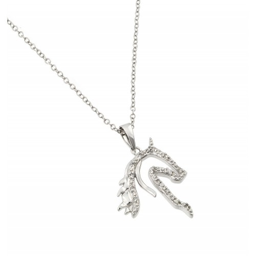Wholesale Sterling Silver 925 Rhodium Plated Clear CZ Horse Pendant Necklace - BGP00963