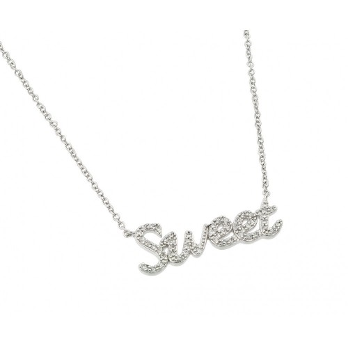 Wholesale Sterling Silver 925 Rhodium Plated Clear CZ Sweet Pendant Necklace - BGP00967