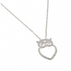 Wholesale Sterling Silver 925 Rhodium Plated Clear CZ Owl Pendant Necklace - BGP00971