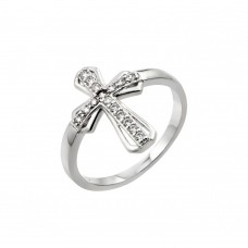 Wholesale Sterling Silver 925 Rhodium Plated Clear CZ Cross Ring - BGR00848