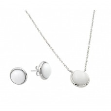 Wholesale Sterling Silver 925 Rhodium Plated White Round Stone Stud Earring and Necklace Set - BGS00443