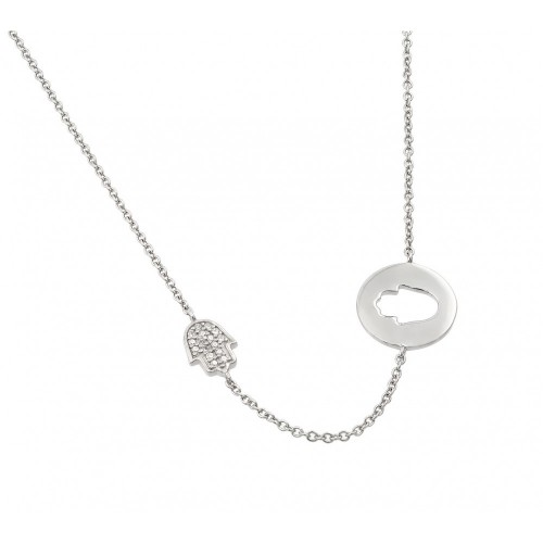 Wholesale Sterling Silver 925 Rhodium Plated Clear CZ Hand Cutout Pendant Necklace - STP01426